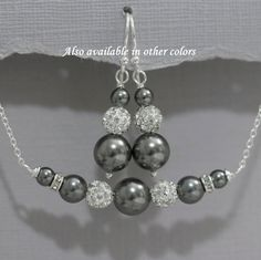 Swarovski Dark Grey Pearl Necklace and Earring Set, Bridesmaid Jewelry, Mother of the Bride Gift, Mother of the Groom Gift, Bridesmaid Gift,