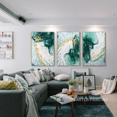 Set of 3 Hand Painting Modern Abstract Green Gold White   Etsy Abstract Tree Painting, Large Painting, Painting Frames, Acrylic Paintings, Large Framed Wall Art, Large Art Prints, Frames On Wall, Living Room Pictures, Wall Art Pictures