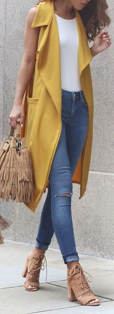 30 Spring Steps to Casual Styling / Vest And Jeans