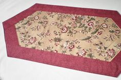 Quilted Runner  Burgundy Tan Oblong Handmade Table by Love2quilt
