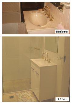 Before and After bathroom renovation with new vanity, tiles and shower instead of bath.- #bathroomrenovation #sydney www.buildingworksaust.com.au #beforeandafter @buildingworksau #newsbuildingworksaust