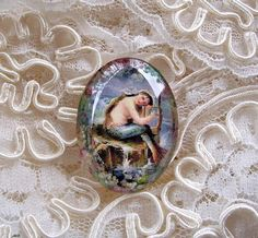 Vtg Mermaid With Harp 30X40mm Glitter Unset Handmade Art Bubble Cameo Cabochon #Handmade #Cameo