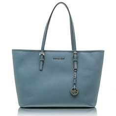 MICHAEL Michael Kors Jet Set Travel Leather Medium Top Zip Mult Funt Tote, Denim