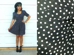 1980s Vintage Black and White Polka Dot Romper by Enchantedfuture
