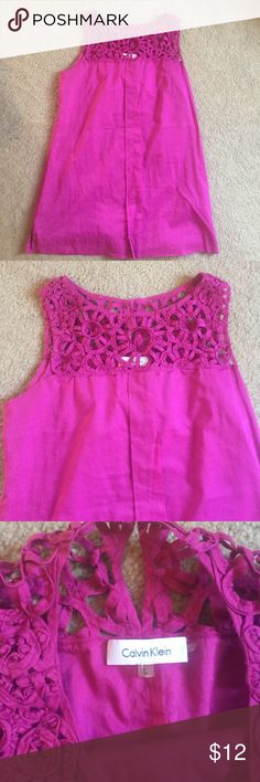 Calvin Klein pink tunic Calvin Klein pink tunic with beautiful detail. EUC 😃 (worn once)  ✨✨MAKE an OFFER or BUNDLE for DISCOUNT 😃👍🏼 Calvin Klein Tops Tunics