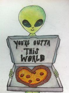 alien, pizza, and grunge image Emoji, Alien Aesthetic, Rainbow Quote, Art Tumblr, Aliens And Ufos, Alien Art, Trippy Alien, Cool Stuff, Pics Art