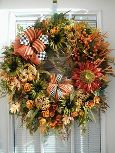 Large Thanksgiving Wreath Fall Autumn Front Door by PetalsNPicks