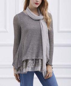 Khaki Lace-Hem Long-Sleeve Tunic & Scarf