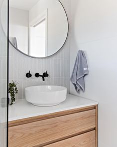Another shot of one of my recent bathrooms - loved the way this one turned out! White, grey and timber.literally a fail safe combination! Laundry In Bathroom, Bathroom Renos, Bathroom Layout, Bathroom Interior Design, Bathroom Furniture, Modern Bathroom, Small Bathroom, Round Bathroom Mirror, Bathroom Goals
