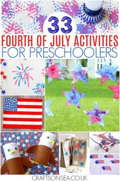Want some inspiration with July activities for preschoolers? We've got all the patriotic ideas you need with over 30 fun crafts, science experiments, red, white and blue sensory play ideas, colouring pages and tons more to make this the best July ever! Fourth Of July Crafts For Kids, 4th Of July Party, July 4th, Summer Activities, Toddler Activities, Summer Crafts, Easy Crafts, Kids Crafts, 4th Of July Decorations