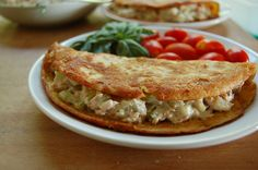 Light Tuna Salad In Socca Wraps (an unleavened pancake made with chickpeas flour, water and bit of olive oil. Great alternative to bread!)