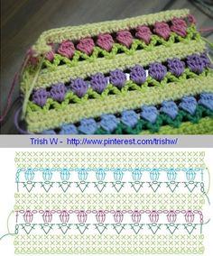 Tulip stitch diagram (Flowers in a Row, originally a Red Heart Yarn pattern) . . . . ღTrish W ~ http://www.pinterest.com/trishw/ . . . . #crochet