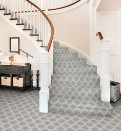 Because they are often used, stairs like hallways face a high-rate of foot traffic. It is recommended that the highest durability rated carpet and padding be chosen for these areas of the home.
