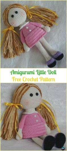 Crochet Stuffed Dolls Crochet Amigurumi Little Doll Free Pattern - Crochet Doll Toys Free Patterns - Crochet Doll Toys Free Patterns: Crochet Dolls, Crochet Toys for Girls, Amigurumi Dolls Free Patterns, Crochet Doll Carrier Knitted Dolls Free, Crochet Doll Clothes, Crochet Simple, Cute Crochet, Crochet Tops, Crochet Patterns Amigurumi, Amigurumi Doll, Crochet Mignon, Crochet Dolls Free Patterns