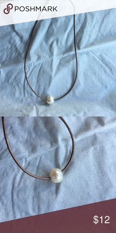 Leather Pearl Necklace Freshwater pearl choker necklace Jewelry Necklaces