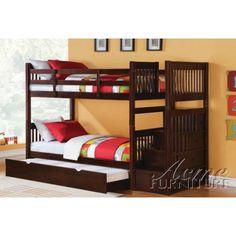 Alem Espresso Finish Storage ladder Twin Bunk Bed 37020 by Acme MyPriceForYou.com - Affordable furniture
