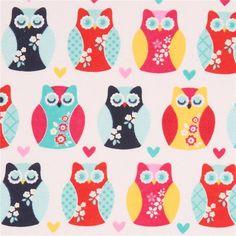 http://www.kawaiifabric.com/en/p11321-white-cute-colorful-owl-animal-flannel-fabric-Riley-Blake.html