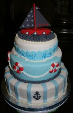 """Ahoy, It's A Boy!"" Baby Shower Cake"