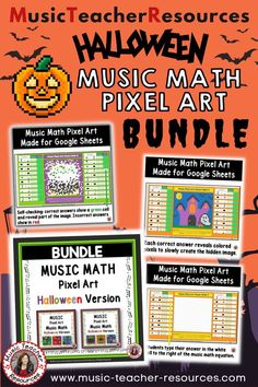 Halloween music games for kids - Review NOTE and REST values with fun and engaging Music Mystery Pixel Art activities -perfect for your Halloween music games for kids during your music class. #MusicTeacherResources #mtrGames #mtrPuzzles #mtrHalloween #mtrBundles Music Math, Music Classroom, Art Music, Child Teaching, Teaching Music, Music Worksheets, Worksheets For Kids, Music Games For Kids, Halloween Music
