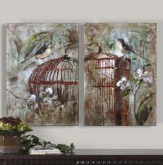 Uttermost Set of 2 Hand-Painted Caged Birds Wall Art
