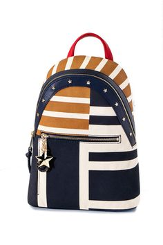 The color-block pattern and stripes of this Tommy Hilfiger canvas backpack makes a statement.
