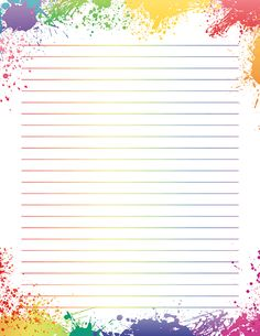 Free printable rainbow paint splatter stationery in JPG and PDF formats. The sta… – Printable Stationery - Paper Printable Lined Paper, Free Printable Stationery, Mises En Page Design Graphique, Rainbow Painting, Rainbow Drawing, Rainbow Paper, Ideias Diy, Borders For Paper, Stationery Paper