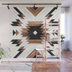 Urban Tribal Pattern - Aztec - Wood // Wall Mural by Zoltan Ratko // This pattern design is also available as a wall art, apparel, tech and home Diy Home Decor, Room Decor, Tribal Home Decor, Aztec Decor, Look Wallpaper, Wood Art, Wall Wood, Concrete Wall, Reclaimed Wood Wall Art