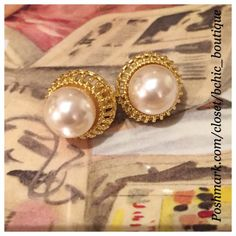 Pearl / Gold Earrings Perfect for everyday wear or out at night! Stunning Faux Pearl on gold base earrings Jewelry Earrings