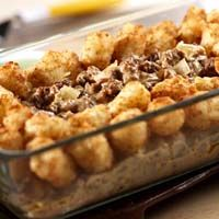 Tater Tot Casserole:  A childhood classic of mine.  Takes about 30 minutes from start to finish.  I add a can of green beans and the last 10 minutes of baking, I top it with cheddar cheese.