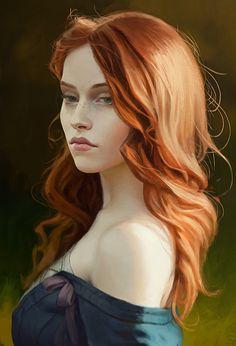 Paul Spitzyn {figurative art female redhead beautiful woman face portrait digital painting #loveart}