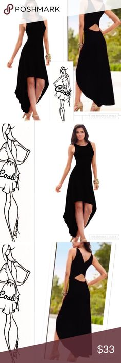 Sneak Preview...Black High Low Dress w/Open Back Cute black high low dress. Dress has no sleeves, short in front & long in the back. Has cute opening @ lower back. Sizes Small-large. Cosb Dresses High Low