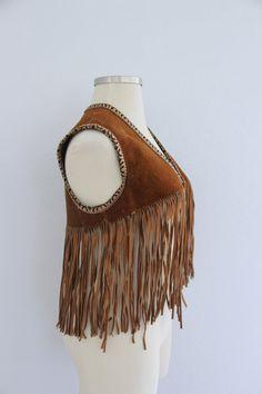 1970s Leather Fringe Vest Cropped Brown Suede by evelynrosevintage
