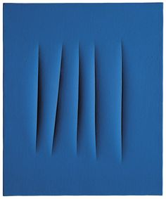 Lucio Fontana | Concetto spaziale, Attese    waterpaint on canvas  25 5/8 x 21¼in. (65 x 54cm.)  executed in 1966