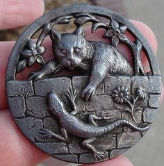 "Scarce ""Cat Lizard"" 1940's Openwork Pewter 1 5 8"" Large Antique Picture Button"