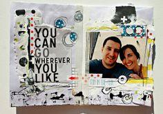 rosa verdosa. mix media. art journal. collage. black. yellow. mini album. scrapbook