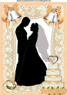 SILHOUETTE OF WEDDING COUPLE WITH CAKE A4 on Craftsuprint - Add To Basket!