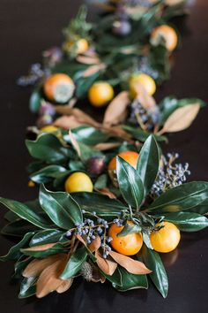 Table Garland with magnolia berries, clementines, and kumquats Magnolia and Frui. Table Garland with magnolia berries, clementines, and kumquats Magnolia and Fruit Garland by JM Flora Magnolia Garland, Magnolia Leaves, Magnolia Centerpiece, Magnolia Table, Fruit Centerpieces, Wedding Centerpieces, Centrepieces, Table Orange, Table Garland