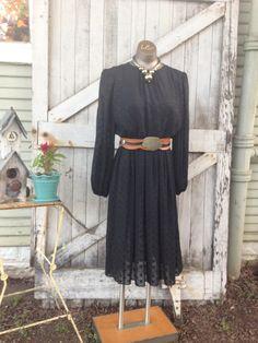 1980s black rayon dress 80s secretary dress size medium Vintage long sleeve day dress by melsvanity on Etsy
