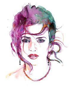 "Watercolor Fine Art Fashion Illustration Print Painting  8.5"" x 11"""