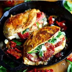 SPINACH&SUN-DRIED TOMATO STUFFED CHICKEN Via: yammiesnoshery.com INGREDIENTS: Two large chicken breasts 3/4 cup Kraft Sun Dried Tomato Vinaigrette Dressing & Marinade (salt and pepper and olive oil would also work fine) 1/2 cup sundried tomatoes 1/2 cup roughly chopped spinach 1/2 cup feta cheese 1/2 cup mozzarella cheese INSTRUCTIONS: Marinade the chicken breasts in the dressing for a few hours (you can also just dump some on right before you cook them if you don't have time). With a…