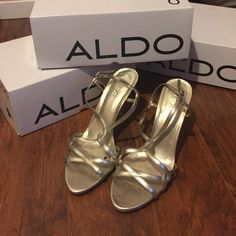 Worn once for prom. Used once. Great condition. Have a little grip on the bottom. Price firm.box says 39 but I think more of a 7 or 7 1/2 ALDO Shoes Heels