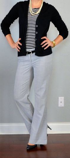outfit posts: striped shirt, black cardigan, grey 'editor' pants - business professional outfits for interview Outfit Posts, Outfit Work, Grey Pants Outfit, Outfits With Gray Pants, Daily Outfit, Shirt Outfit, Shirt Dress, Brown Pants Outfit For Work, Casual Outfits