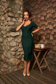 Pinup Couture Priscilla Dress in Dark Green Bengaline   Vintage Style Dress   Pinup Girl Clothing