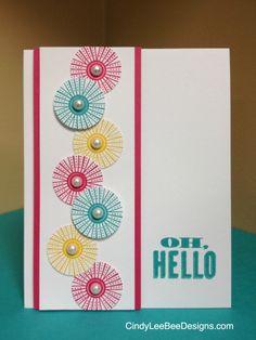 SU Mixed Bunch  Oh, Hello-Card Recipe: STAMPS:SU Mixed Bunch, SU Oh, Hello INK: SU Daffodil Delight, SU Melon Mambo, SU Bermuda Bay PAPER: SU Melon Mambo, SU Bermuda Bay, SU Whisper White ACCESSORIES: SU Pearls TOOLS: SU 1 in. Circle Punch