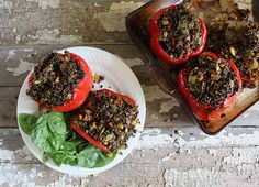 Nutrition Stripped | Moroccan Quinoa Stuffed Red Peppers | http://nutritionstripped.com