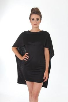 Black cape bodycon dress
