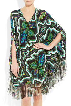 Paul & Joe Tippi fringed poncho-style silk tunic - 60% Off Now at THE OUTNET