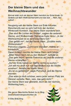 The little star and the Christmas miracle * Elkes children's stories Easy Christmas Crafts, Christmas And New Year, Simple Christmas, Merry Christmas, Christmas Decorations, Xmas, Kindergarten Portfolio, German Language, Little Star