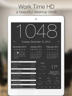 iPad App Work Time HD - Elegant desk top clock for iPad with calendar and weather | Utilities | Productivity | | 4 | $2.99 NOW FREE | The best desktop clock! Don't leave your iPad asleep on your desk, put it to good use. Plug it in and use this App. Not j