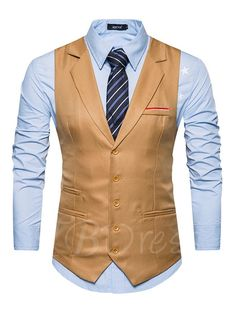 TBDress -  TBDress Notched Collar Single-Breasted Solid Color Slim Fit  Mens Vest 8455ed5c78